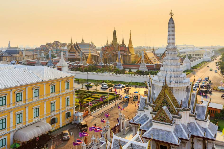 Temple of the Emerald Buddha, ( Wat Phra Kaew) in sunset time, Bangkok, Thailand