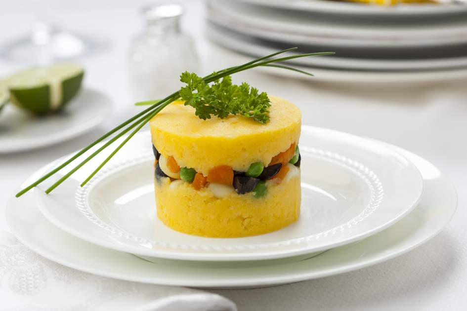 Causa rellena made from Peruvian potatoes.
