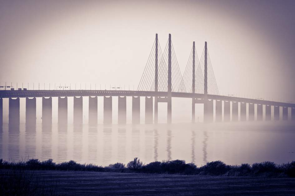 The bridge, oresundsbron, between Denmark and Sweden