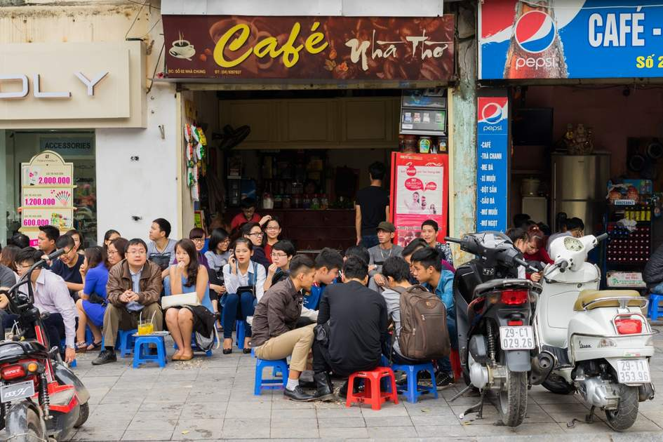 Typical cafe on Nha Chung street, Hanoi, Vietnam
