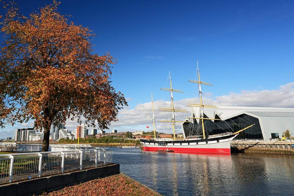 The Riverside transport museum and tall ship on the River Clyde, Glasgow