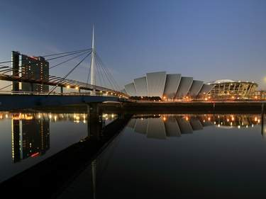 The Clyde Auditorium reflecting on the River Clyde at Sunse