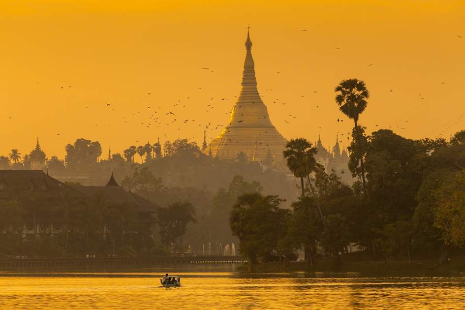 Shwedagon Pagoda in sunset. Yangon, Myanmar (Burma)