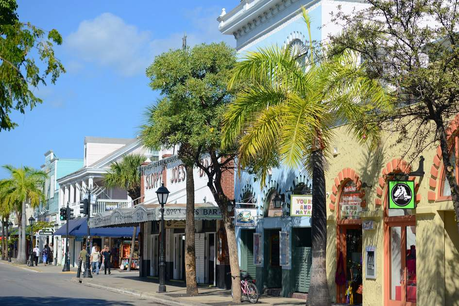 Colorful Shops on Duval Street in Key West, Florida, USA