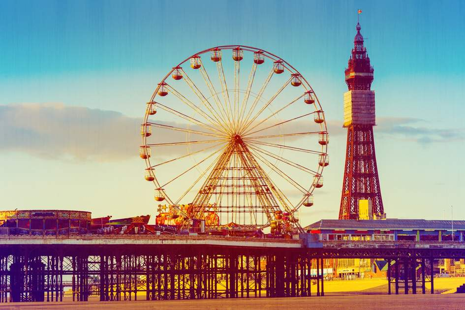 Blackpool Tower and Central Pier Ferris Wheel, Lancashire, UK