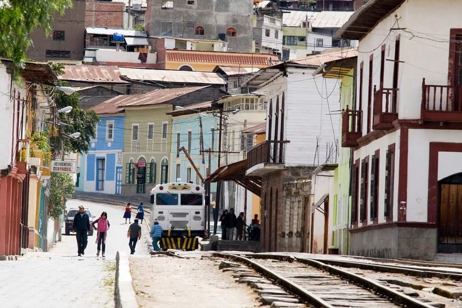 Railway lines, Colonial streets, Alausi, Avenue of Volcanoes, Ecuador