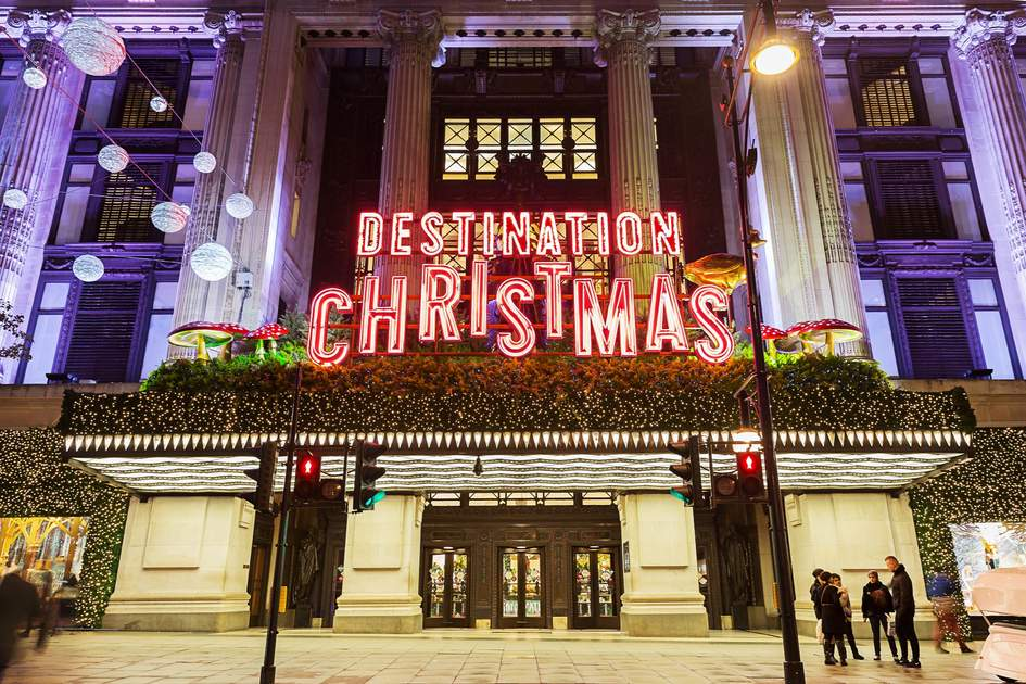 Selfridges, Oxford Street, London, decorated for Christmas