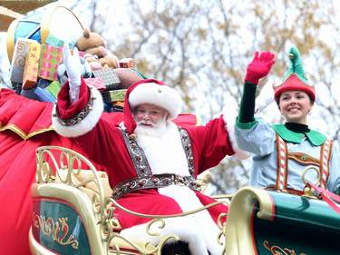Santa Claus attends the 88th Annual Macy's Thanksgiving Day Parade in New York City.