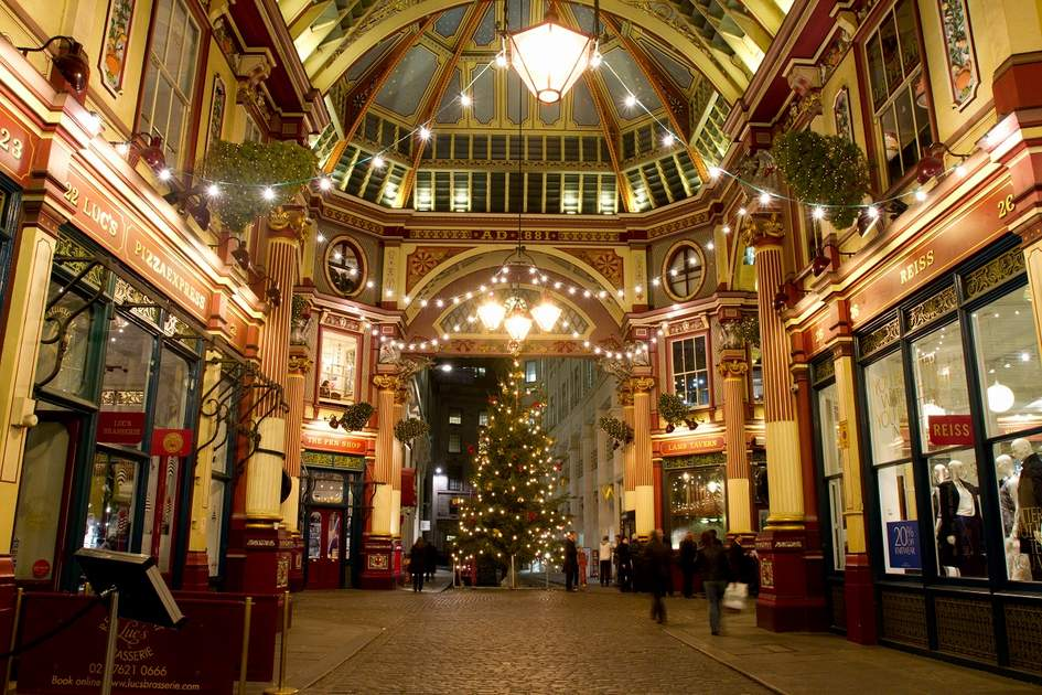 Christmas decorations in Leadenhall Market, London