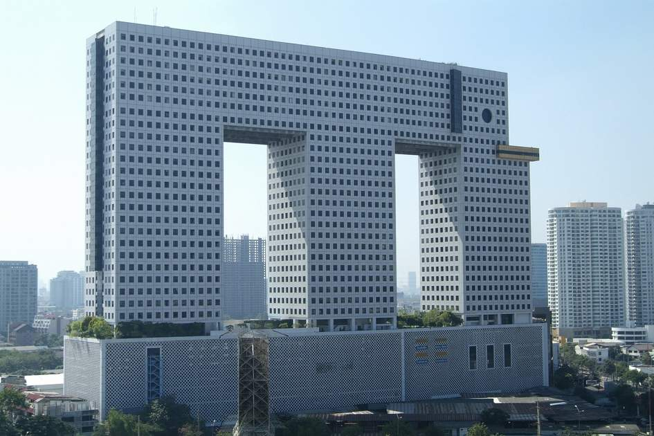 Large, elephant-shaped apartment building in Bangkok, Thailand