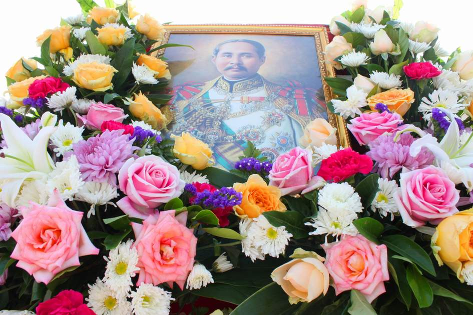 Wreath is laid for salute King Chulalongkorn statue in front of provincial hall on October 23, 2013 in Mahasarakham, Thailand.