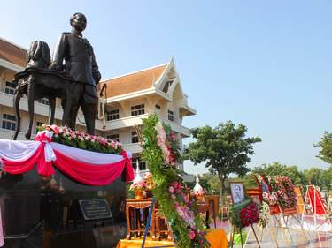 Wreaths are laid for salute King Chulalongkorn statue in front of provincial hall in Mahasarakham, Thailand.