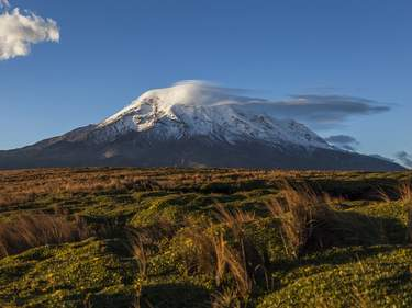 Extinct volcano Chimborazo, at sunset, the highest of Ecuador