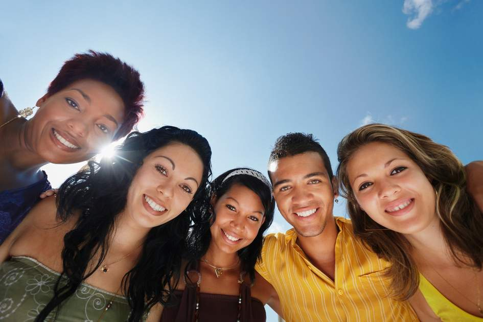 Multiethnic group of five Brazil male and female