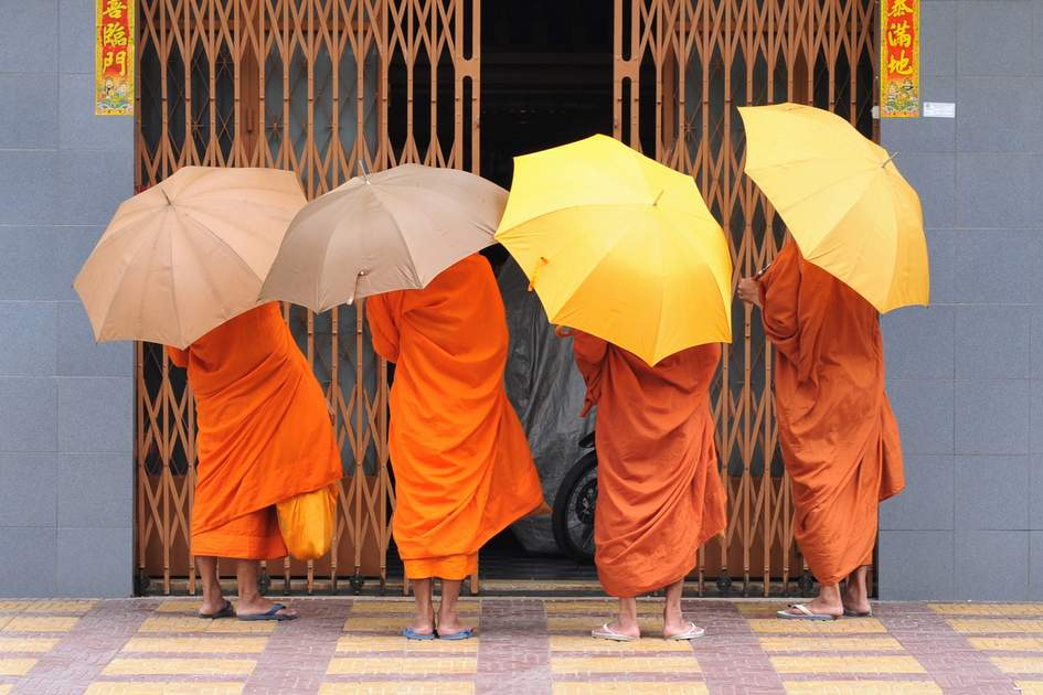 Monks on their daily tour in Phnom Penh