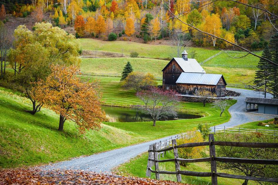 Classic farm scene, Vermont, New England.
