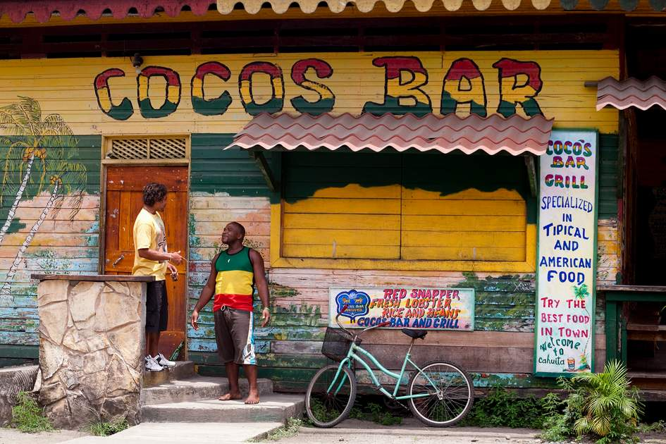 Locals outside Coco's bar, Cahuita, Costa Rica