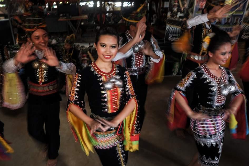 Dancers celebrating Tadau Kaamatan, the end of the rice harvest, Sabah, Malaysia