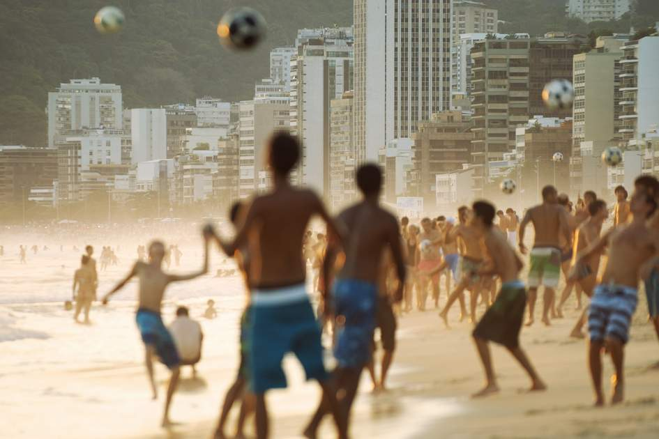 Kick around on Ipanema Beach, Brazil