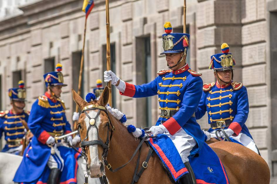 Los Granaderos de Tarqui, the guardians of the Presidential Palace in Quito, Ecuador