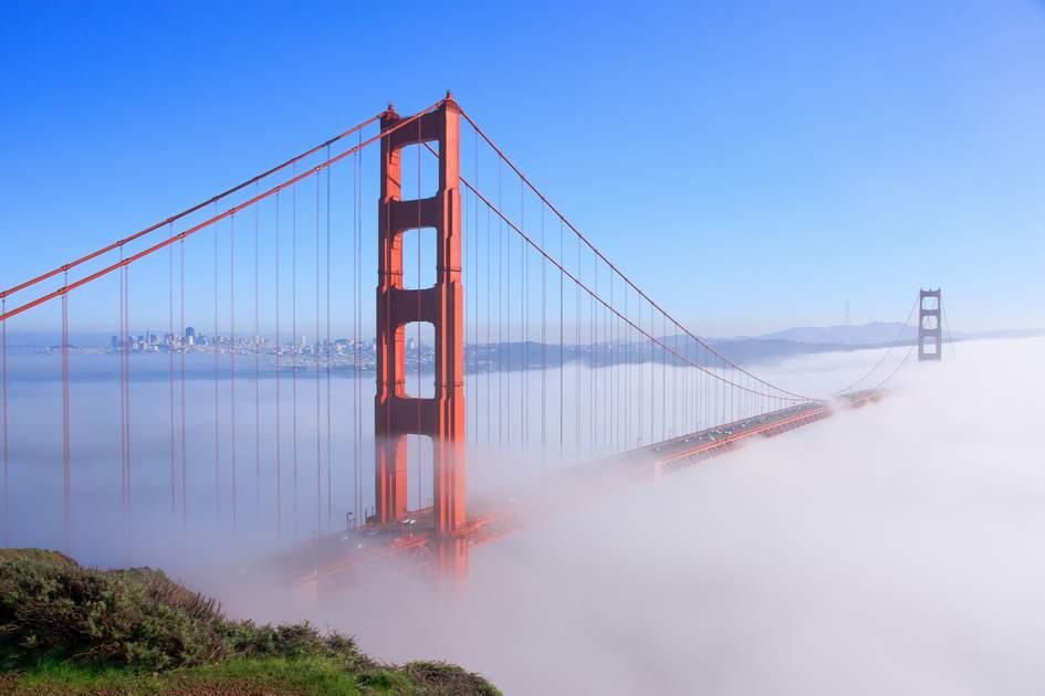 Thick fog covering Golden Gate Bridge