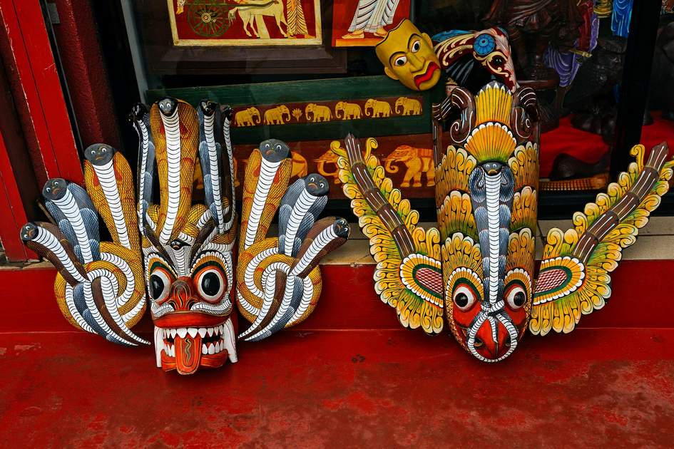 Traditional wooden masks are just some of the handicrafts you can buy in Sri Lanka. Photo: Eduard Kyslynskyy/Shutterstock
