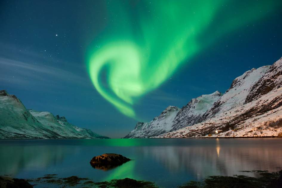 The polar lights in Tromso region, Norway.