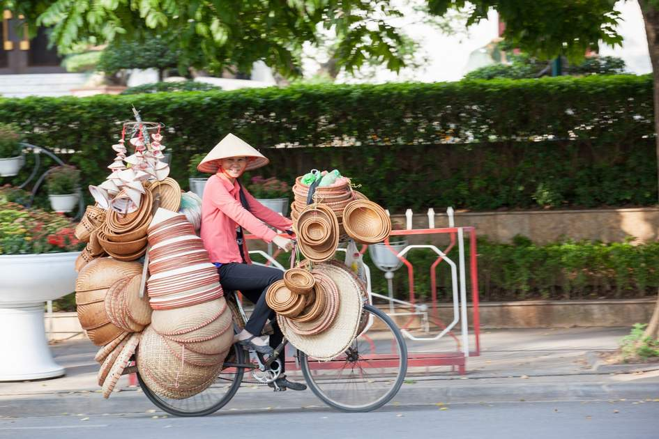 Vietnam street vendor in Hanoi's Old Quarter