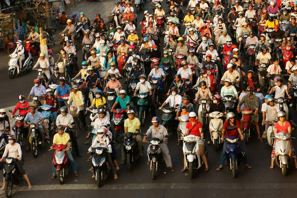 Crowed scene of city traffic in rush hour in Ho Chi Minh City, Vietnam.