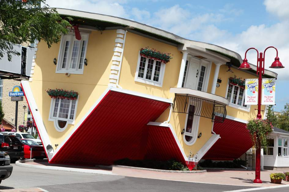 Attraction Upside Down House on Clifton Hill in Niagara Falls, Canada,
