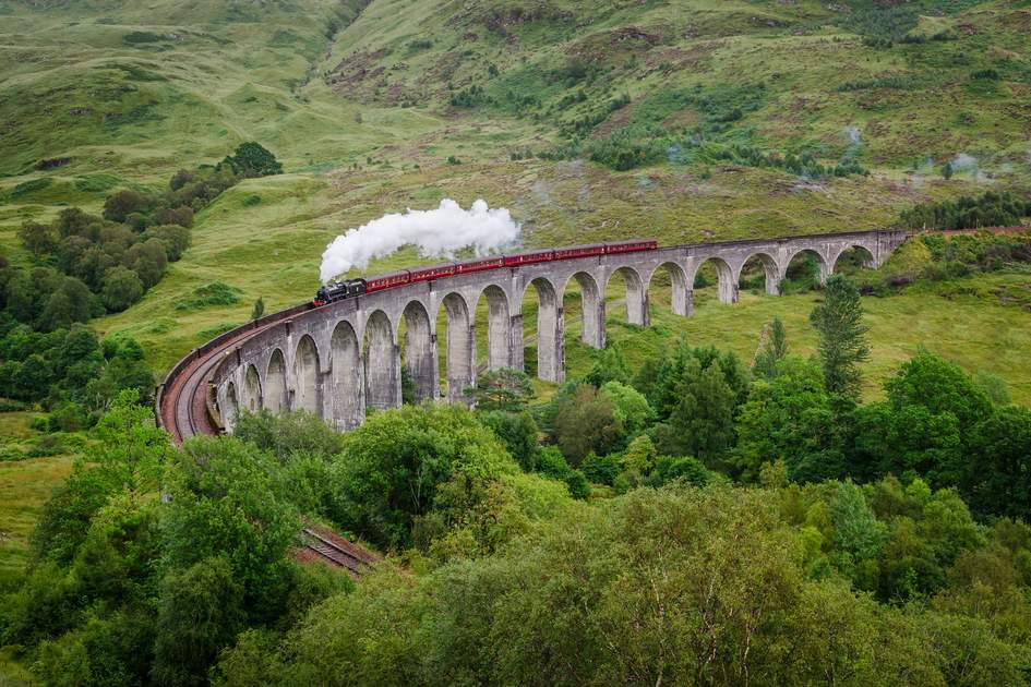 Steaming across the Glenfinnan viaduct, Scotland