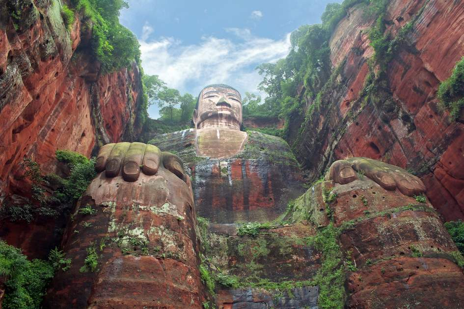 The world's biggest stone sitting Buddha in Sichuan, China