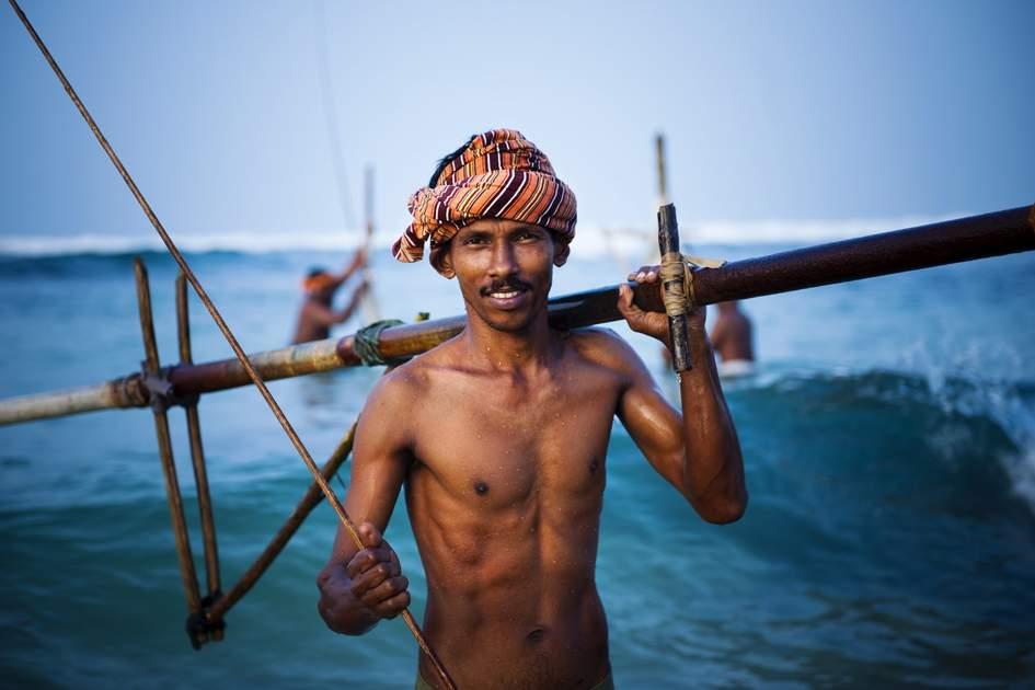 Stilt fisherman in Sri Lanka's Koggala