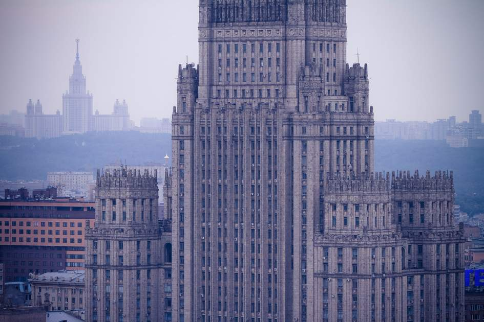 Ministry of Foreign Affairs skyscraper building in Moscow