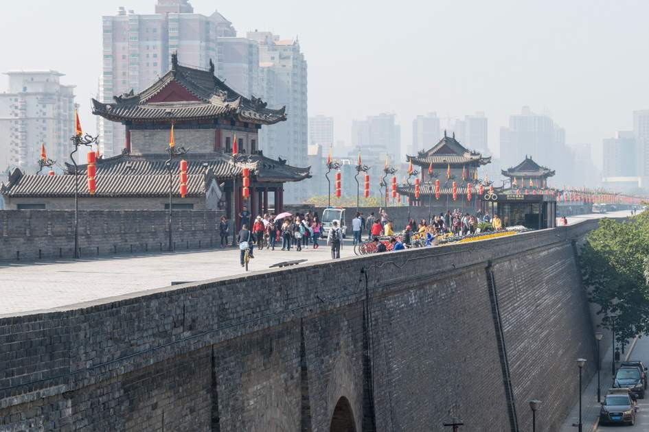 City Wall of Xi'an. a famous Historic Sites in Xian, Shaanxi, China.