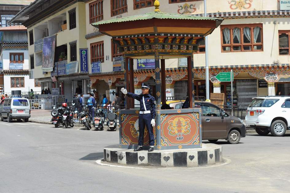 Traffic police regulating traffic in Thimphu, Bhutan