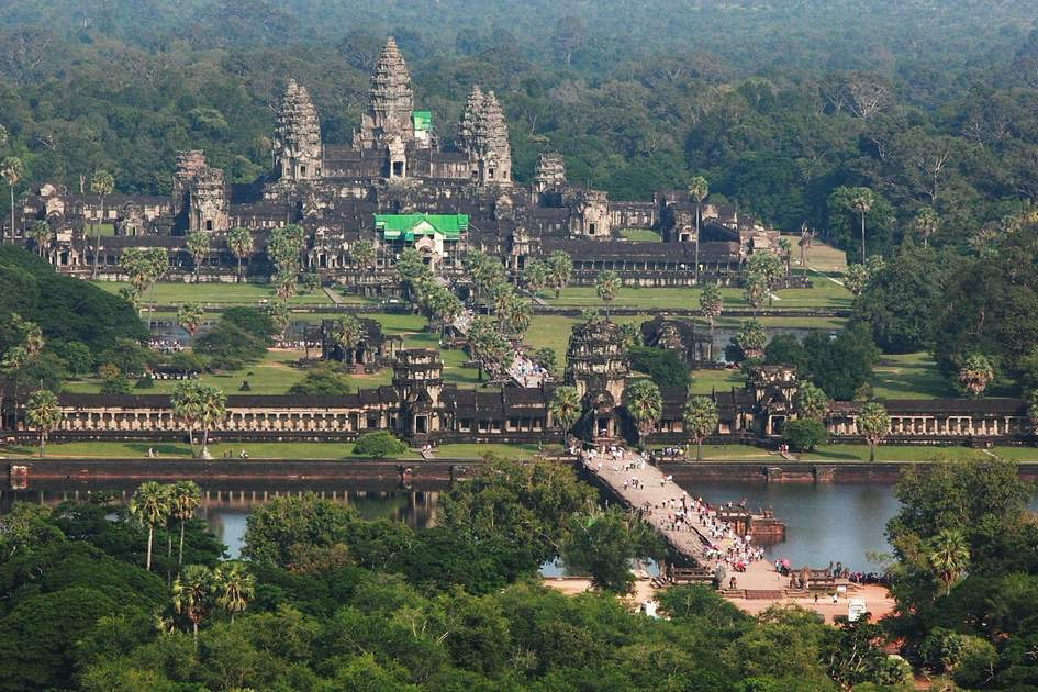 Aerial view of Angkor Wat in Cambodia