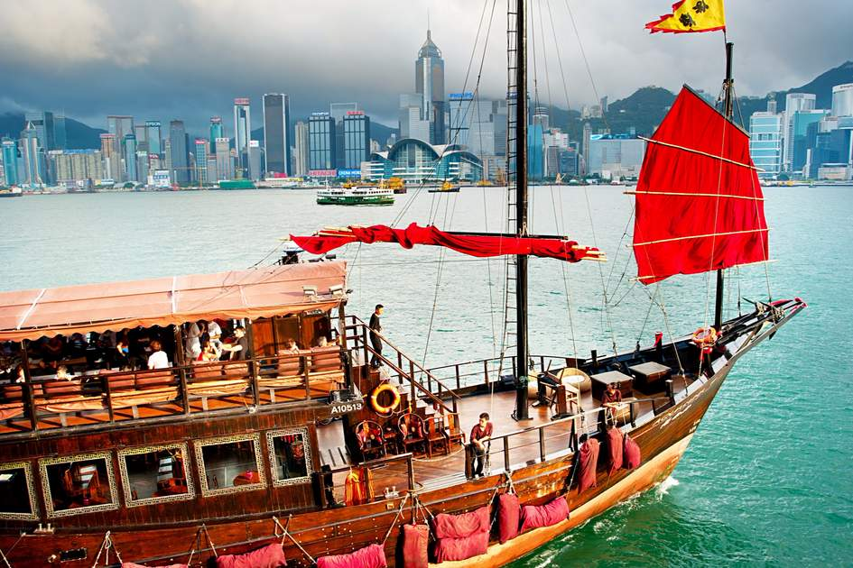Traditional tourist junk sailing in Victoria Harbour. Photo: Shutterstock