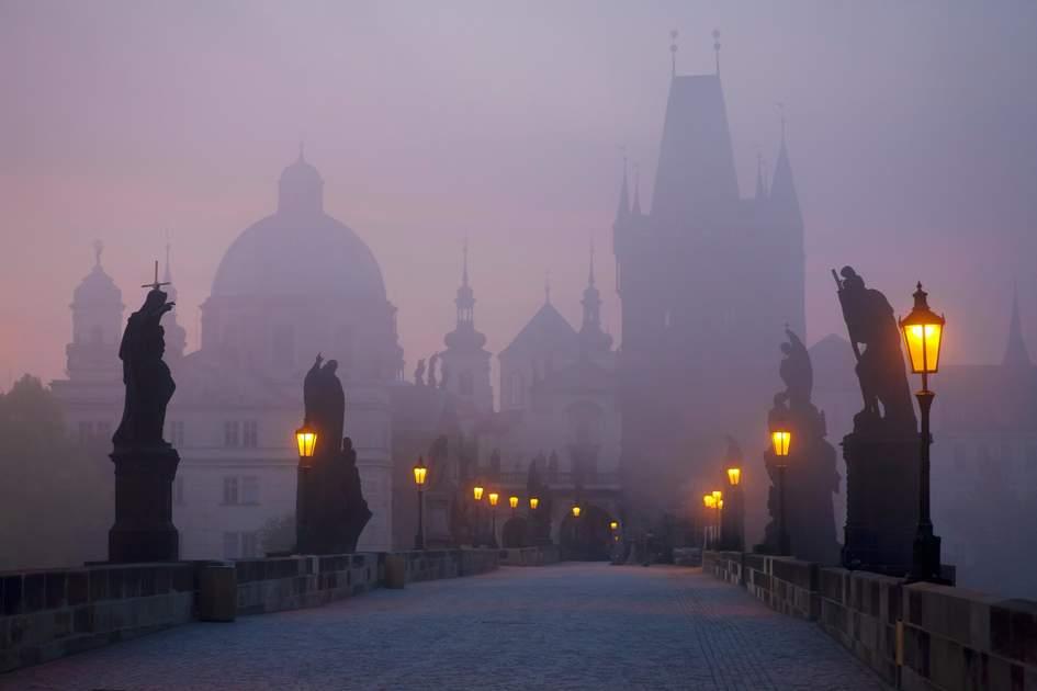 Prague's Charles Bridge at dawn