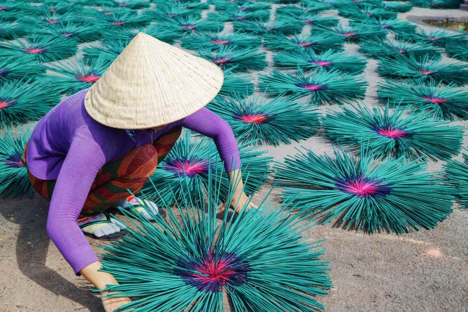 Making incense near Hue, Vietnam