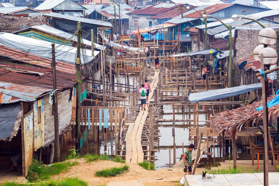 View of the Belen neighborhood in Iquitos, Peru.