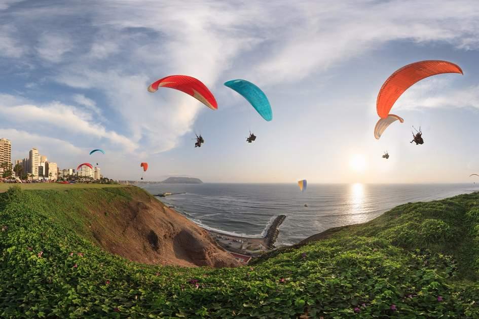 Paragliders over Miraflores, Lima, Peru