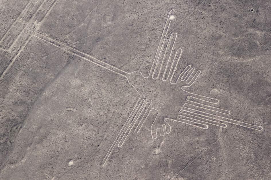 Aerial view of Hummingbird geoglyph near Nazca