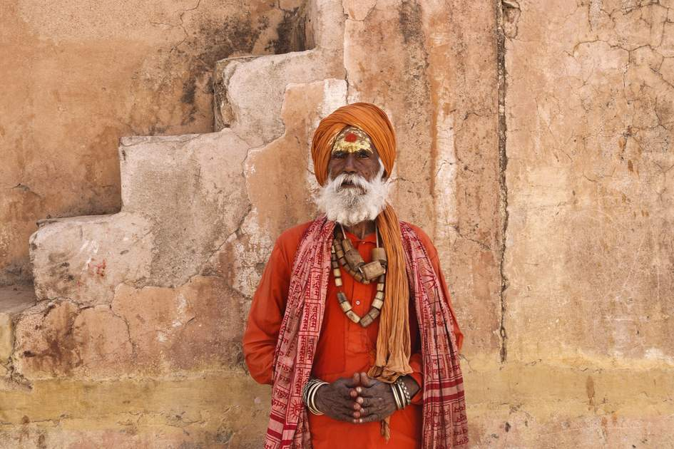 A sadhu at Amber Fort in Jaipur