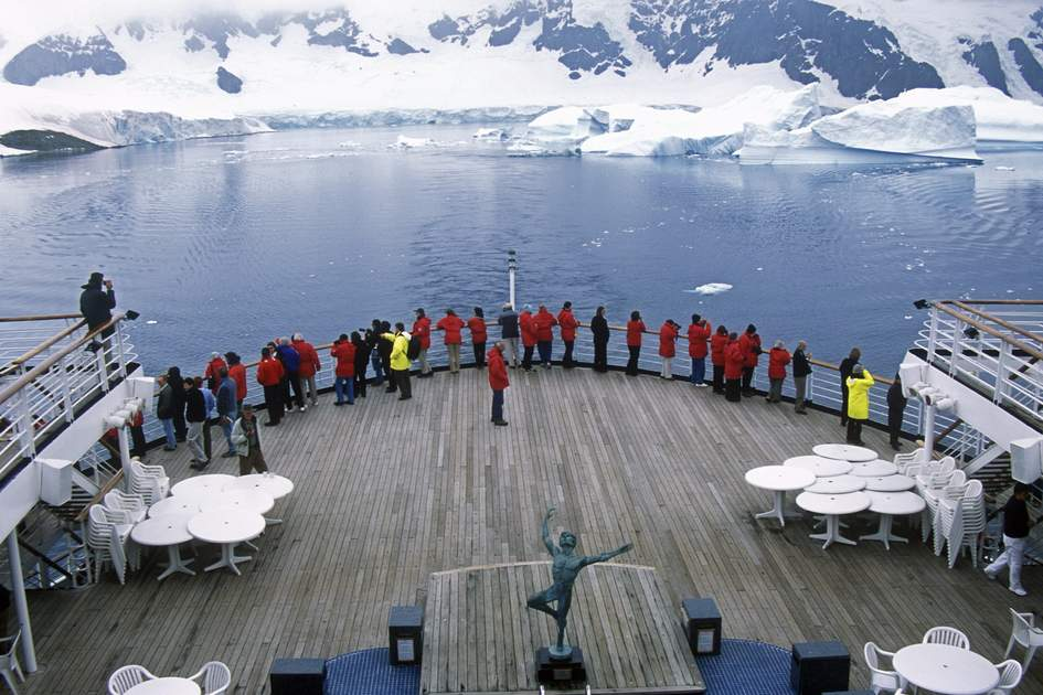 Cruising aboard Marco Polo in LeMaire Harbor, Antarctica