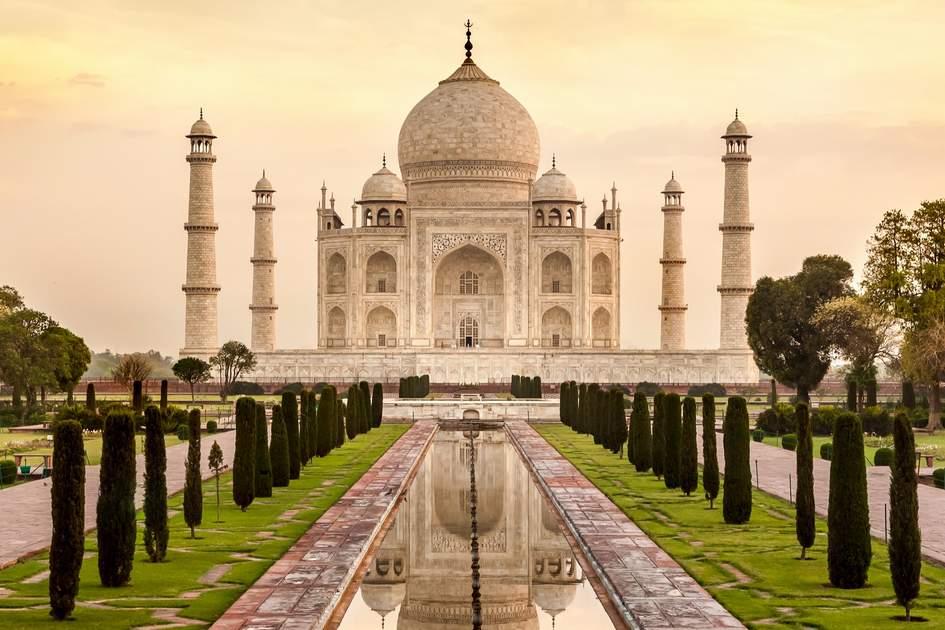 Taj Mahal At Sunrise Agra India Photo Shutterstock