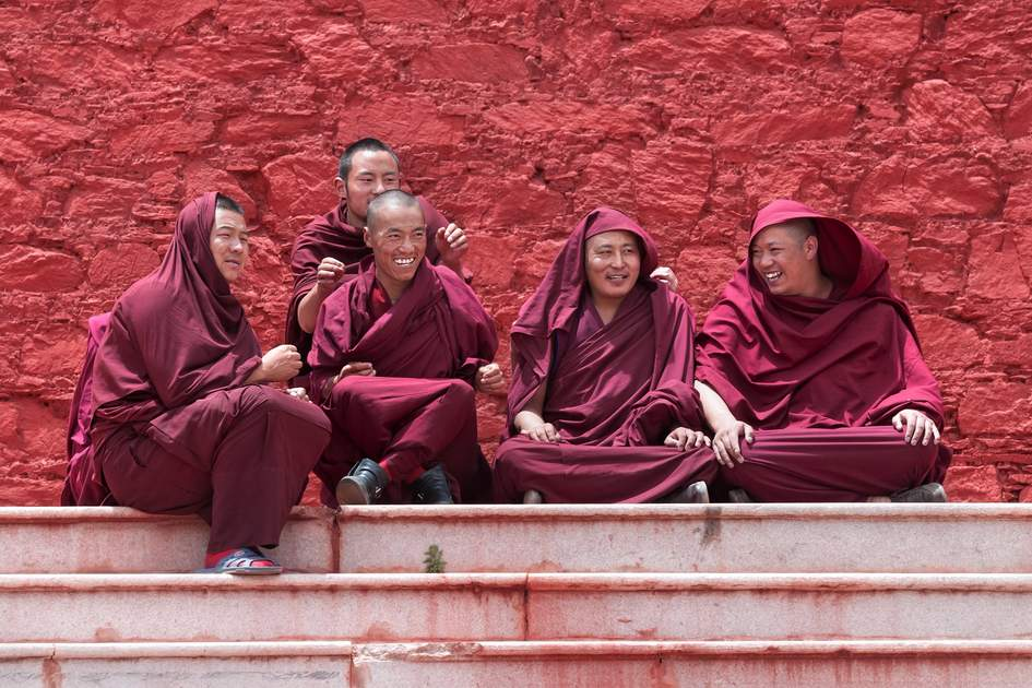 Monks waiting for their examination results in Lhasa, Tibet.