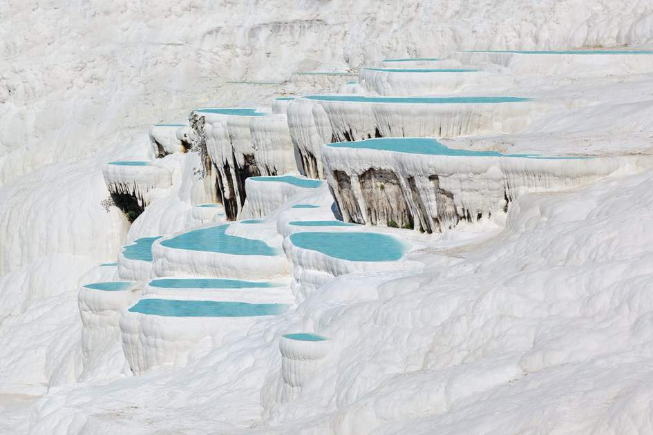The travertine pools and terraces of Pamukkale, Turkey