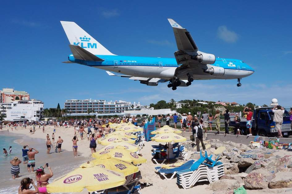 Maho Beach in Sint Maarten, Dutch Antilles, one of the best plane-spotting locations in the world