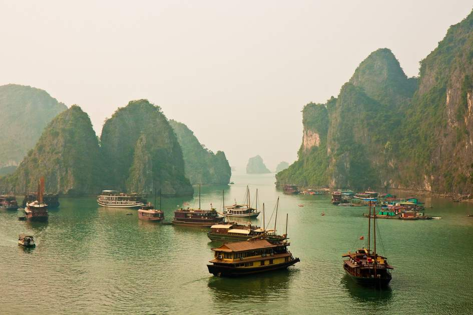 Vietnam: Halong Bay's limestone islands, a Unesco World Heritage Site.